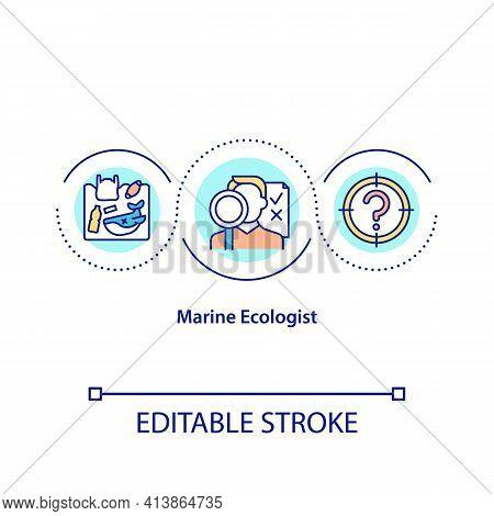 Marine Ecologist Concept Icon. Planet Saving Idea Thin Line Illustration. Professional Scientists. W