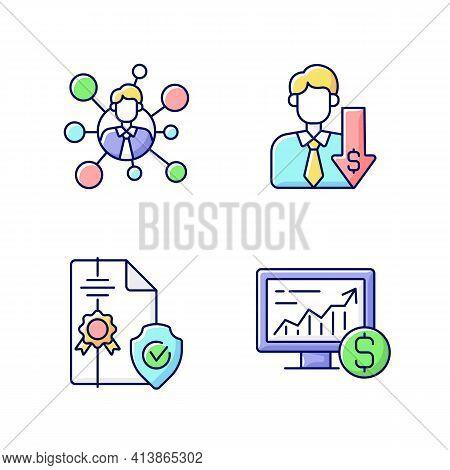 Brokerage Service Rgb Color Icons Set. Broker Connection. Discount, Financial Recession. Intellectua