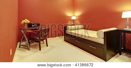 Red Room With Sofa Bed And Office Desk.