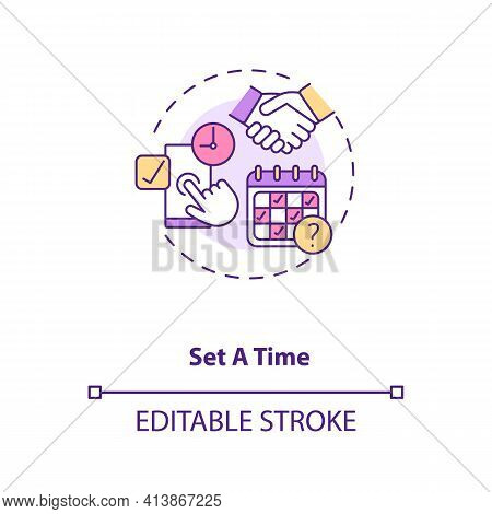 Set First Date Time Tips Concept Icon. Select Date, Time, Make Appointment Ideas Thin Line Illustrat