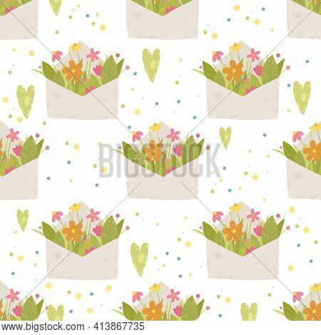 Contemporary Floral Spring Summer Pattern. Cartoon Illustration Of Contemporary Floral Spring Summer