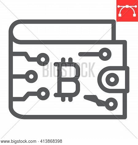 Bitcoin Wallet Line Icon, Cryptocurrency And Bitcoin, Wallet Vector Icon, Vector Graphics, Editable