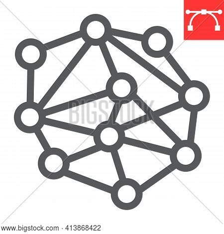 Distributed Network Line Icon, Connect And Marketing, Distribution Network Vector Icon, Vector Graph