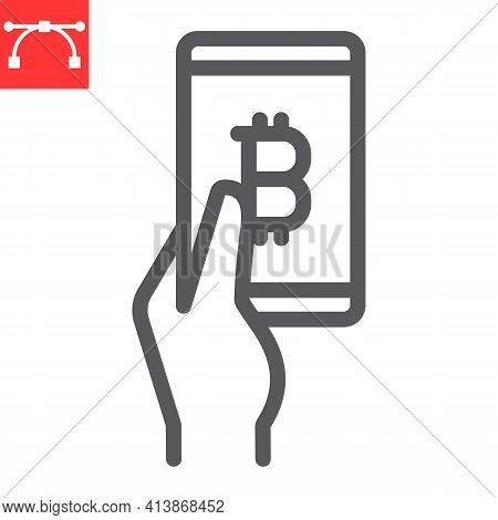 Bitcoin Mobile Pay Line Icon, Payment And Pay With Bitcoin, Hand Holding Smartphone Vector Icon, Vec