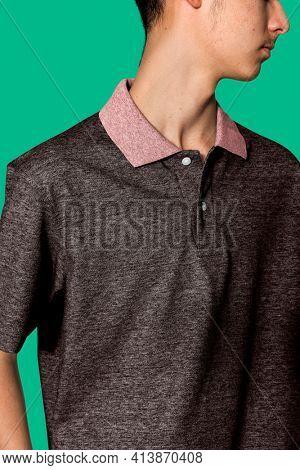 Gray polo t-shirt for boys youth apparel shoot