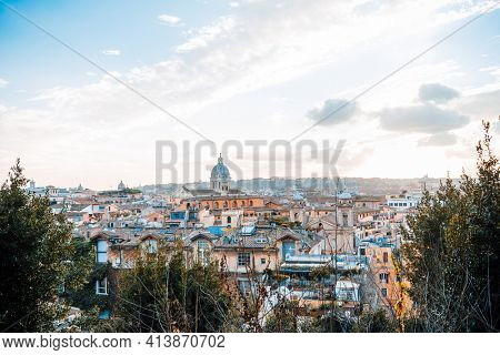ROME, ITALY - January 17, 2019: Traditional street view of old buildings. Is a city and special common in Italy. With 2.9 million residents. Rome, ITALY