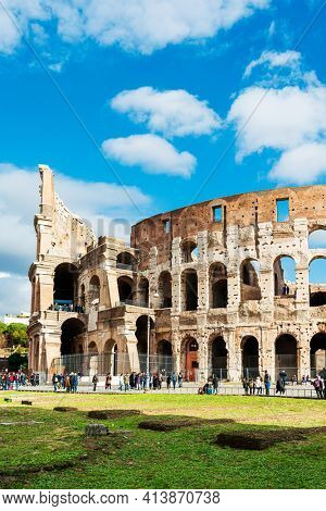 ROME, ITALY - January 17, 2019: Roman amphitheatres in Rome, circular or oval open-air venues with raised seating built by the Ancient Romans, Rome, ITALY