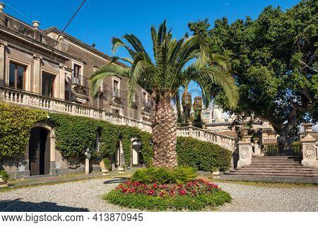 Catania,  Italy - March 3, 2020: Villa Cerami garden in Catania, Sicily, Italy. Historical places of Catania