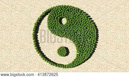 Concept or conceptual group of green forest tree on dry ground background as sign of chinese symbol of Yin-Yang, opposing and complementary. 3d illustration metaphor for taoism, meditation and balance