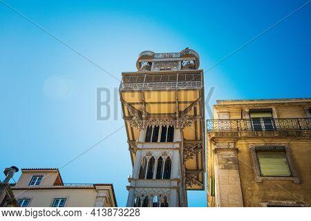 Lisbon, Portugal - February 11, 2018: Elevator de santa justa in Lisbon, Portugal, Europe