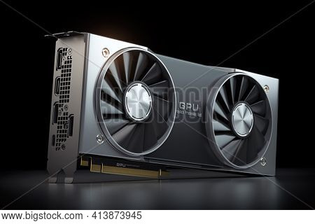 Graphics card. Modern gaming  GPU graphics processing unit on black. 3d illustration