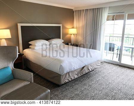 NEWPORT BEACH, CALIFORNIA - JULY 12, 2019: Guest Room Interior at the Hyatt Regency Newport Beach.