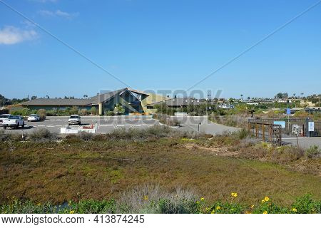 NEWPORT BEACH, CALIFORNIA - JANUARY 16, 2017: Back Bay Science Center. On Shellmaker Island, the facility provides educational programs emphasizing estuary and marine ecology.