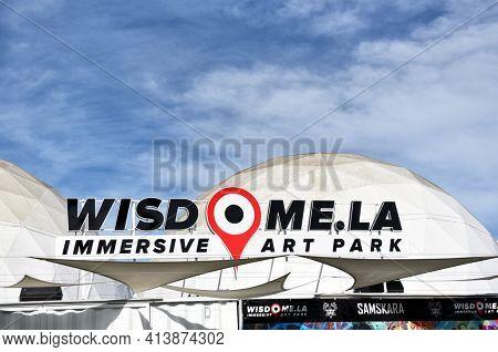 LOS ANGELES, CALIFORNIA - 05 FEB 2020: Wisdome.LA Immersive Art Park, presenting the avant-garde experiences and unforgettable events in a unique Los Angeles Arts District 5 domes setup.