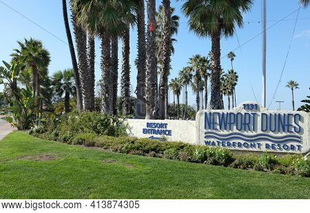 NEWPORT BEACH, CALIFORNIA - JANUARY 16, 2017: Newport Dunes Entrance Sign. The Dunes are a 110 acre resort at the entrance to the Back Bay Nature Reserve.