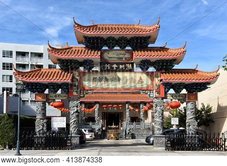 LOS ANGELES, CALIFORNIA - 05 FEB 2020: The Southern California Teo-Chew Association building is located in the heart of Chinatown.