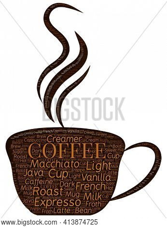 Hot Coffee Illustration with Word Art Typography