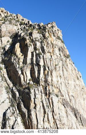 Granite Wall of the San Jacinto Mountains viewed for a car on the Palm Springs Aerial Tramway.