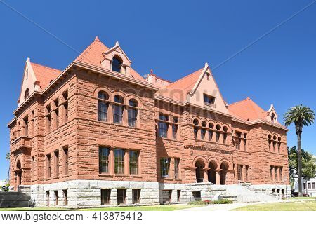 SANTA ANA, CA - APRIL 30, 2017: The Old Orange County Courthouse, The Historic Landmark in Santa Ana California is listed on the National Register of Historic Places.