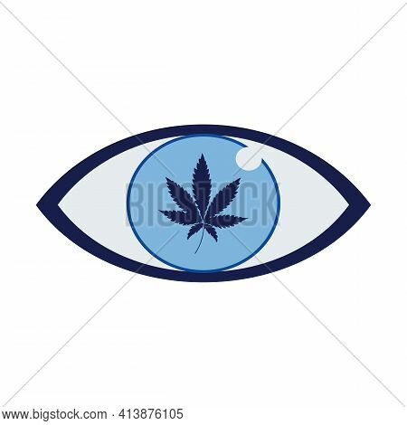 Overdose Of Marijuana On A Person's Blue Pupil. Acute Cannabis Intoxication. Harmful To The Brain An