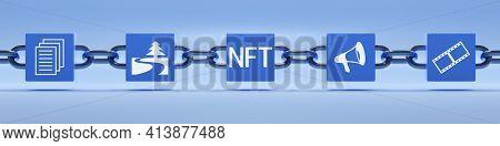Non Fungible Token Blockchain Symbol. 3D illustration