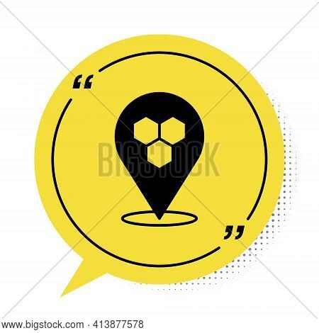 Black Honeycomb Bee Location Map Pin Pointer Icon Isolated On White Background. Farm Animal Map Poin