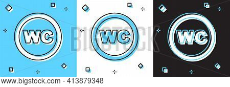 Set Toilet Icon Isolated On Blue And White, Black Background. Wc Sign. Washroom. Vector