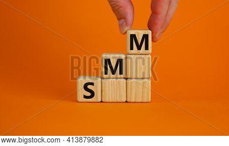 Smm, Social Media Marketing Symbol. Wooden Cubes With Word 'smm - Social Media Marketing' On Beautif