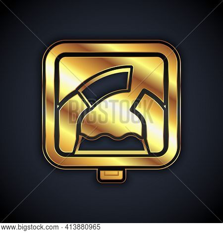 Gold Drawbridge Ahead Icon Isolated On Black Background. Information Road Sign. Vector