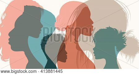 Silhouette Profile Group Of Men And Women Of Diverse Culture. Diversity Multi-ethnic And Multiracial