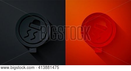 Paper Cut Slippery Road Traffic Warning Icon Isolated On Black And Red Background. Traffic Rules And