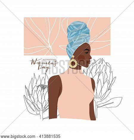 International Women's Day Greeting Card. Abstract Afro-american Woman Portrait With One Line Protea