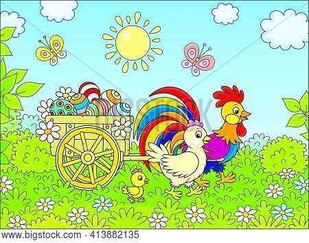 Small Wooden Cart With Painted Easter Eggs Pulled By A Colorful Rooster With A Cute Hen And Their Li