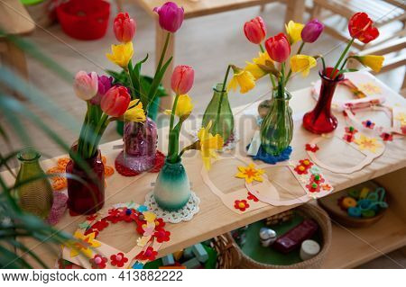 Concept of spring holiday, womens day or mothers day in montessori school