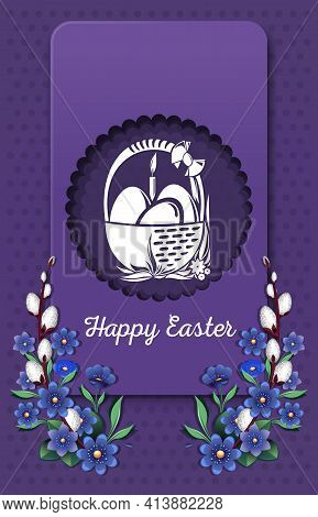 Happy Easter. Greeting Card With Basket With Easter Eggs. Easter Card. Vector Illustration