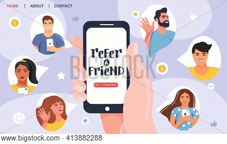 Referral Program Concept. Hand Holding Phone.  Business Partnership Strategy With Group Of People. N