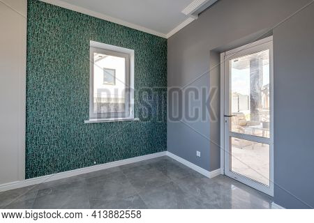 Empty Gray Room With Repair And Without Furniture