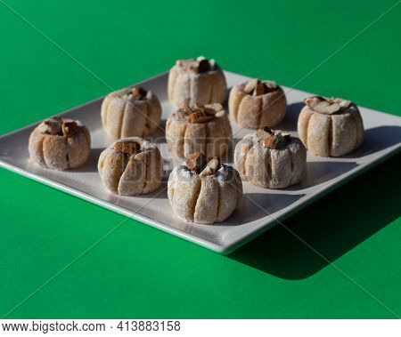 Traditional Tunisian Touagin Almond Cookies. Sprinkled With Powdered Sweetener And Garnished With Gr