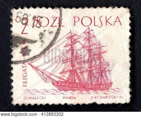 Poland - Circa 1986: Polish Postage Stamp Dedicated Towarships. Old Sea Vessel. Polish Post Stamp. V