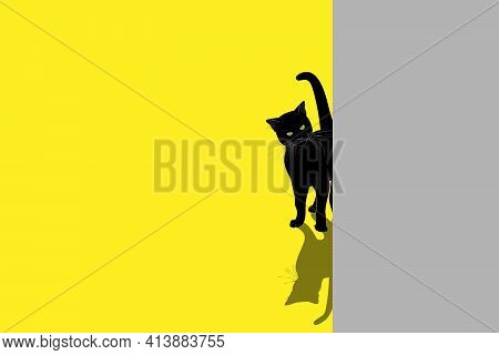 A Black Kitten Peeks Out From Behind A Gray Wall. Contrasting Silhouette Of A Cat With A Shadow On A