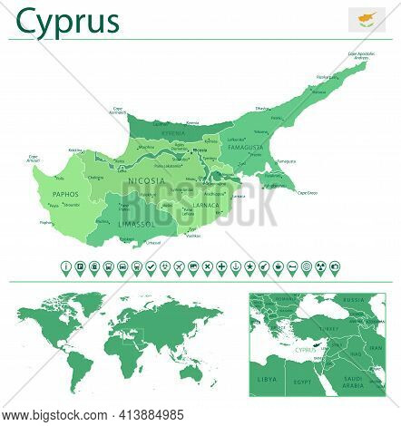 Cyprus Detailed Map And Flag. Cyprus On World Map.