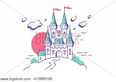 Big Fairytale Medieval Castle Towers On White Background. Isolated Concept Of Fairy King Mansion For