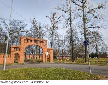 February 15, 2020. Poznan, Poland. Historic Gate To Edwardowo Farm. Red Brick Walls. Manor, Gate Of