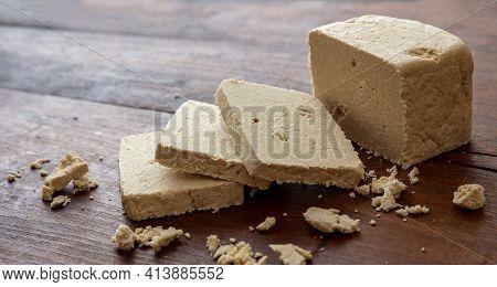 Halva Vanilla Slices On Wooden Table Background, Closeup View.