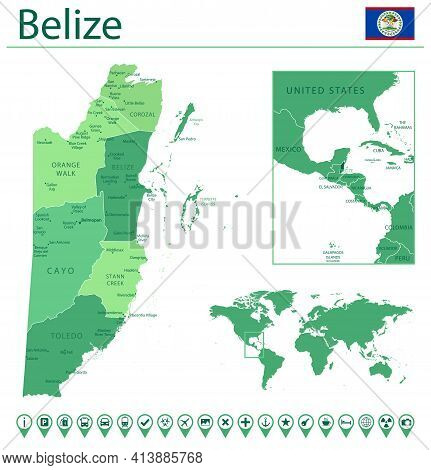 Belize Detailed Map And Flag. Belize On World Map.
