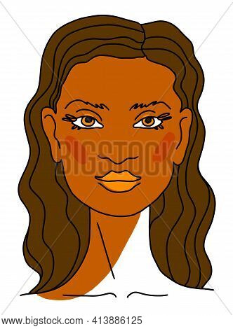 Beautiful Lovely Feminine Face Portrait Brunette Woman With Long Brown Curly Hair. Line Drawing. Ske
