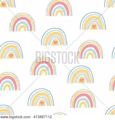 Rainbow Seamless Pattern. Unique Hand Drawn Rainbow Texture. Cute Kid Nursery Background In Pastel C