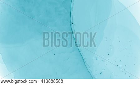 Teal Pastel Flow Water. Blue Cloud Gradient Abstraction. Contemporary Wave Illustration. Ink Stains