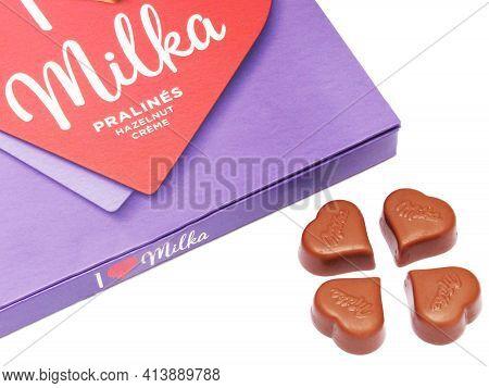 Giurgiu, Romania, On 18.04.2020. Milka Chocolate Pralines With Hazelnut Creme, Isolated On White Bac