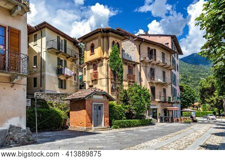 View of beautiful typical houses on the street in old town of Cannobio in Piedmont, Northern Italy.